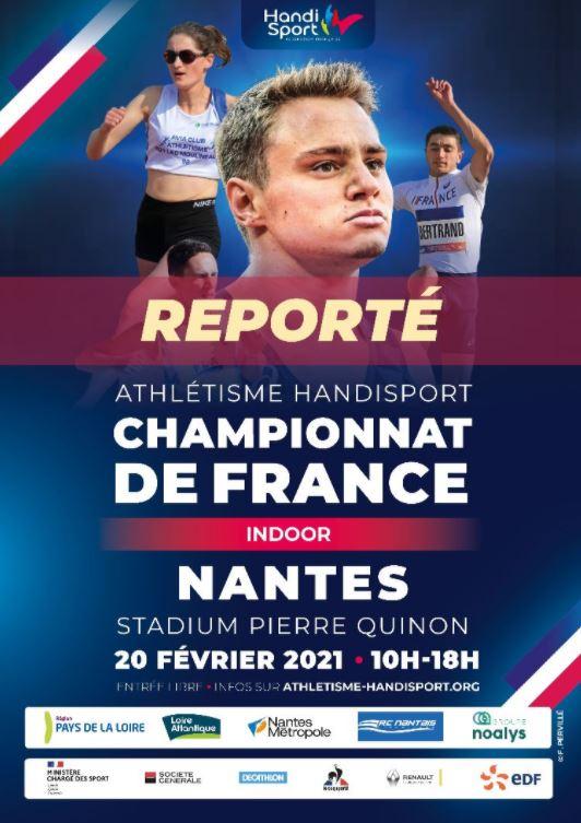 Alerte! Report des Championnats de France Indoor - Nantes 2021